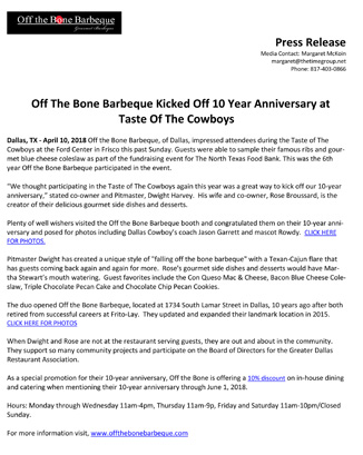 Off the Bone Barbeque 10th Anniversary, April 2018